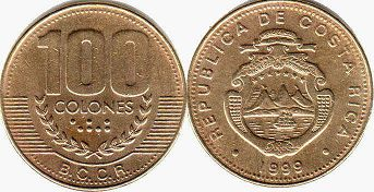 coin Costa Rica 100 colones 1999