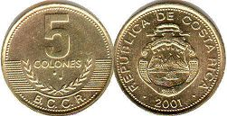 coin Costa Rica 5 colones 2001