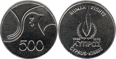 coin Cyprus 500 mils 1978