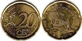 coin Cyprus 20 euro cent  2008