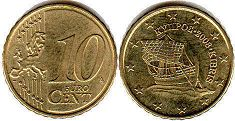 coin Cyprus 10 euro cent 2008