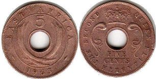 coin BRITISH EAST AFRICA 5 cents 1963
