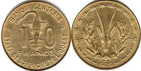 piece West African States 10 francs 1978