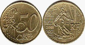coin France 50 euro cent 2001