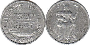 coin French Oceania 5 francs 1952