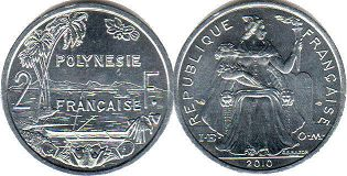 coin French Polynesia 2 francs 2010
