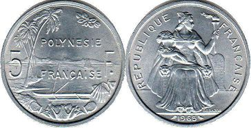 coin French Polynesia 5 francs 1965
