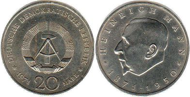 coin East Germany 20 mark 1971