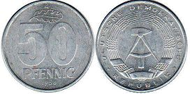 coin East Germany 50 pfennig 1958