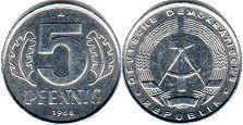 coin East Germany 5 pfennig 1968
