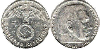 coin Nazi Germany 5 mark 1937