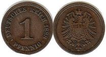coin German Empire 1 pfennig 1888