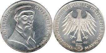 coin Germany 5 mark 1968