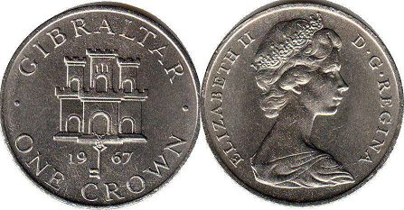coin Gibraltar 1 crown 1967