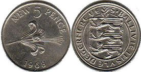 coin Guernsey 5 new pence 1968