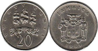 coin Jamaica 20 cents 1969