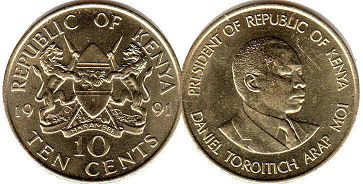 coin Kenya 10 cents 1991