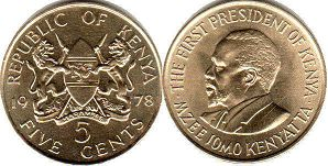 coin Kenya 5 cents 1978