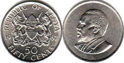coin Kenya 50 cents 1967