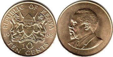 coin Kenya 10 cents 1968