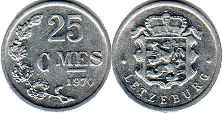 coin Luxembourg 25 centimes 1970