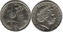 coin Isle of Man 5 pence 1998