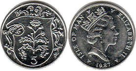 coin Isle of Man 5 pence 1987