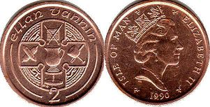 coin Isle of Man 2 pence 1990