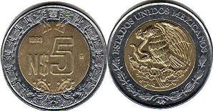 moneda Mexico 5 pesos 1993