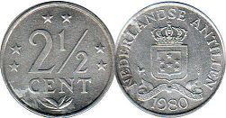 coin Netherlands Antilles 2.5 cents 1980