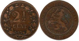 coin Netherlands 2,5 cents 1877