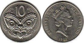 coin New Zealand 10 cents 1987