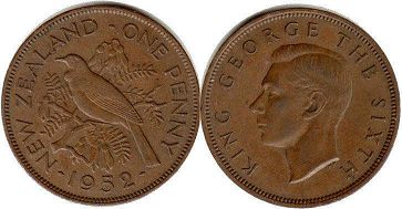 coin New Zealand 1 penny 1952