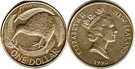 coin New Zealand 1 dollar 1990