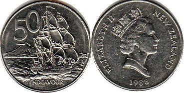 coin New Zealand 50 cents 1988