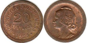 coin Portugal 20 centavos 1925