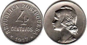 coin Portugal 4 centavos 1917