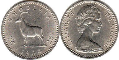 coin Rhodesia 2'6 25 cents 1964
