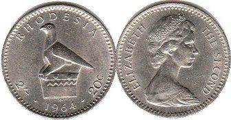 coin Rhodesia 2' 20 cents 1964