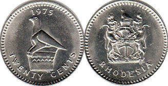 coin Rhodesia 20 cents 1975