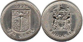coin Rhodesia 10 cents 1975