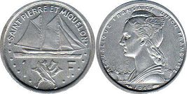 coin Saint Pierre and Miquelon 1 franc 1948