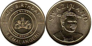 coin Swaziland 5 emalangeni 2008 40 Years of King