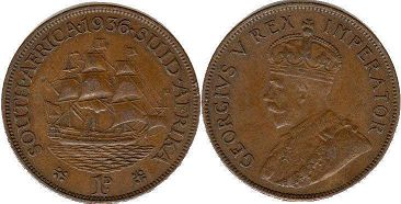 old coin South Africa 1 penny 1936
