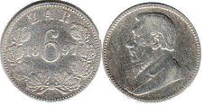 old coin South Africa 6 pence 1897