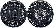 coin Ururuay 10 new pesos 1989