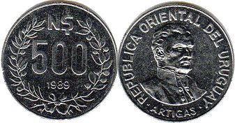 coin Ururuay 500 new pesos 1989