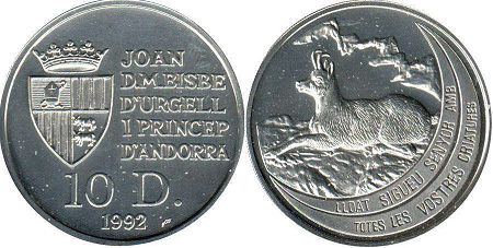 coin Andorra 10 diners 1992