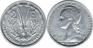 coin Cameroon 2 francs 1948