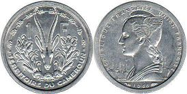 coin Cameroon 1 franc 1948